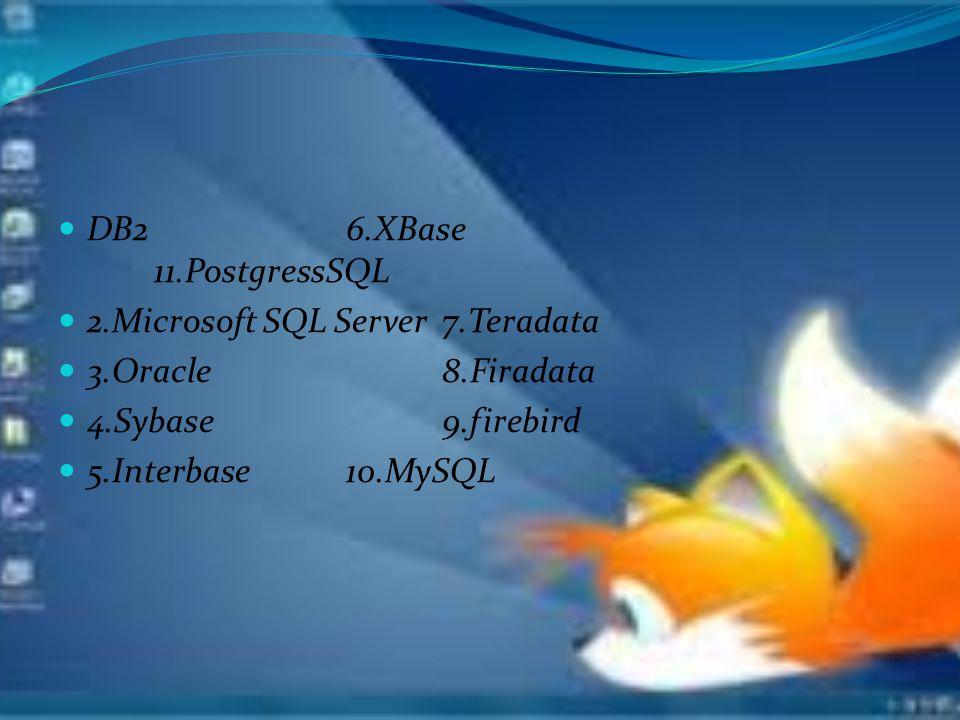 DB26.XBase 11.PostgressSQL 2.Microsoft SQL Server7.Teradata 3.Oracle8.Firadata 4.Sybase9.firebird 5.Interbase10.MySQL