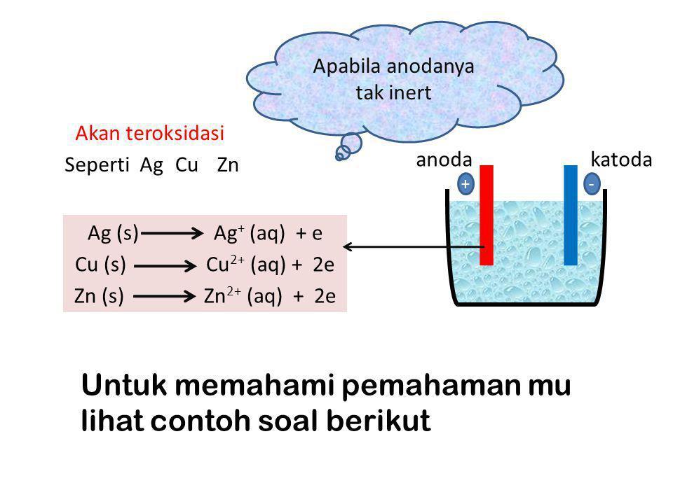 Seperti Ag CuZn Akan teroksidasi Ag (s) Ag + (aq) + e Cu (s) Cu 2+ (aq) + 2e Zn (s) Zn 2+ (aq) + 2e anodakatoda +- Untuk memahami pemahaman mu lihat c