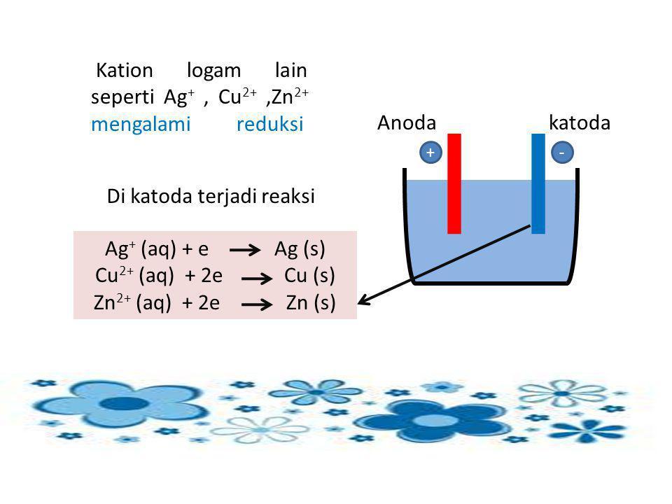 Kation logam lain seperti Ag +, Cu 2+,Zn 2+ mengalami reduksi Di katoda terjadi reaksi Anodakatoda -+ Ag + (aq) + e Ag (s) Cu 2+ (aq) + 2e Cu (s) Zn 2
