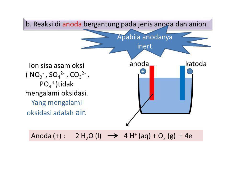 b. Reaksi di anoda bergantung pada jenis anoda dan anion b. Reaksi di anoda bergantung pada jenis anoda dan anion Ion sisa asam oksi ( NO 3 -, SO 4 2-