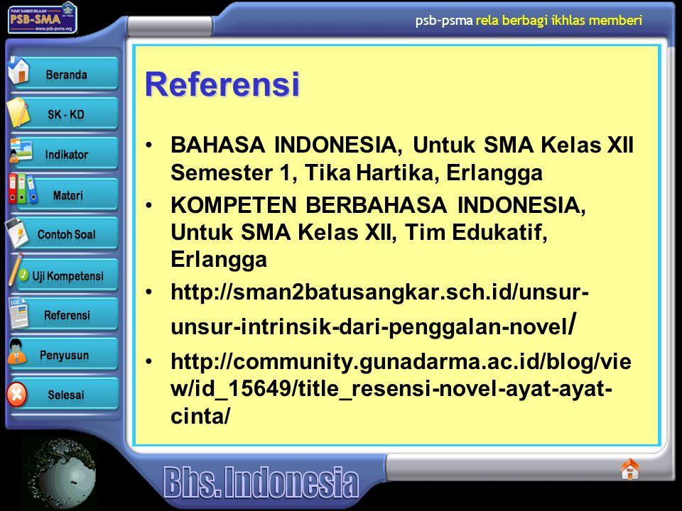 psb-psma rela berbagi ikhlas memberi Referensi BAHASA INDONESIA, Untuk SMA Kelas XII Semester 1, Tika Hartika, Erlangga KOMPETEN BERBAHASA INDONESIA,