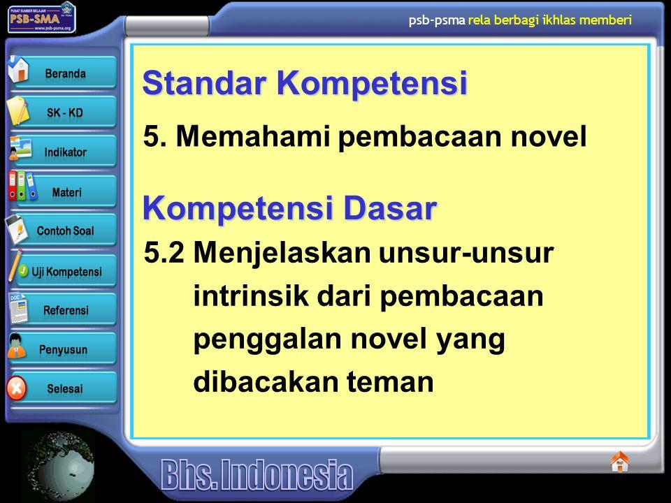 psb-psma rela berbagi ikhlas memberi Standar Kompetensi 5. Memahami pembacaan novel Kompetensi Dasar 5.2 Menjelaskan unsur-unsur intrinsik dari pembac
