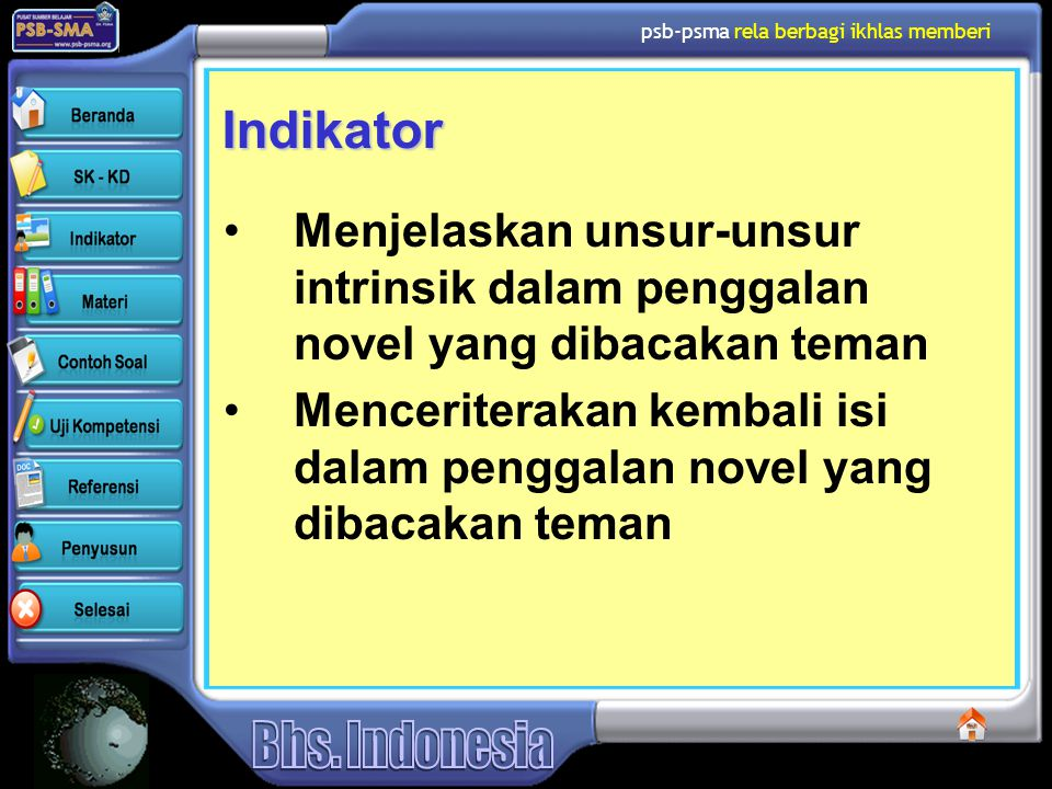 psb-psma rela berbagi ikhlas memberi Indikator Menjelaskan unsur-unsur intrinsik dalam penggalan novel yang dibacakan teman Menceriterakan kembali isi