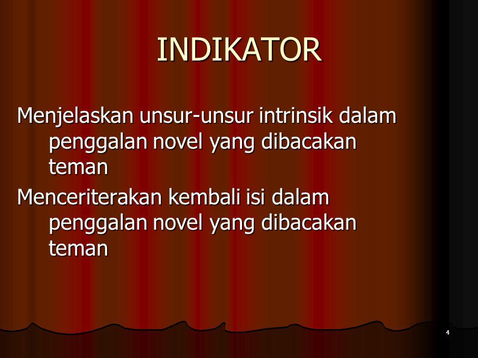 INDIKATOR 4 Menjelaskan unsur-unsur intrinsik dalam penggalan novel yang dibacakan teman Menceriterakan kembali isi dalam penggalan novel yang dibacakan teman