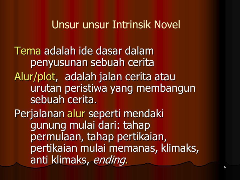 6 Unsur unsur Intrinsik Novel Tema adalah ide dasar dalam penyusunan sebuah cerita Alur/plot, adalah jalan cerita atau urutan peristiwa yang membangun sebuah cerita.