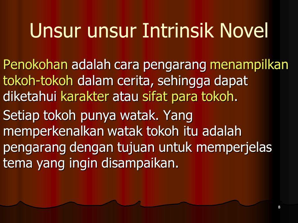 7 Unsur unsur Intrinsik Novel Alur terbagi atas 3 yaitu: alur maju, alur mundur dan alur bolak-balik. Latar/setting yaitu pelukisan tempat, waktu, dan