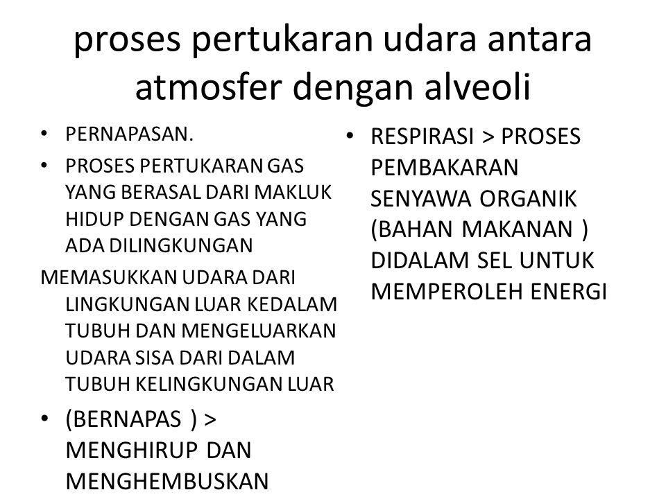 proses pertukaran udara antara atmosfer dengan alveoli PERNAPASAN.