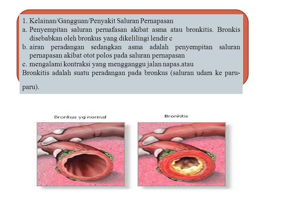 Kelainan dan Penyakit pada Sistem Pernapasan Manusia Faringitis Pneumonia Emfisema paru-paru Asma Dipteri Asfiksi TBC Hipoksia Asidosis Sianosis