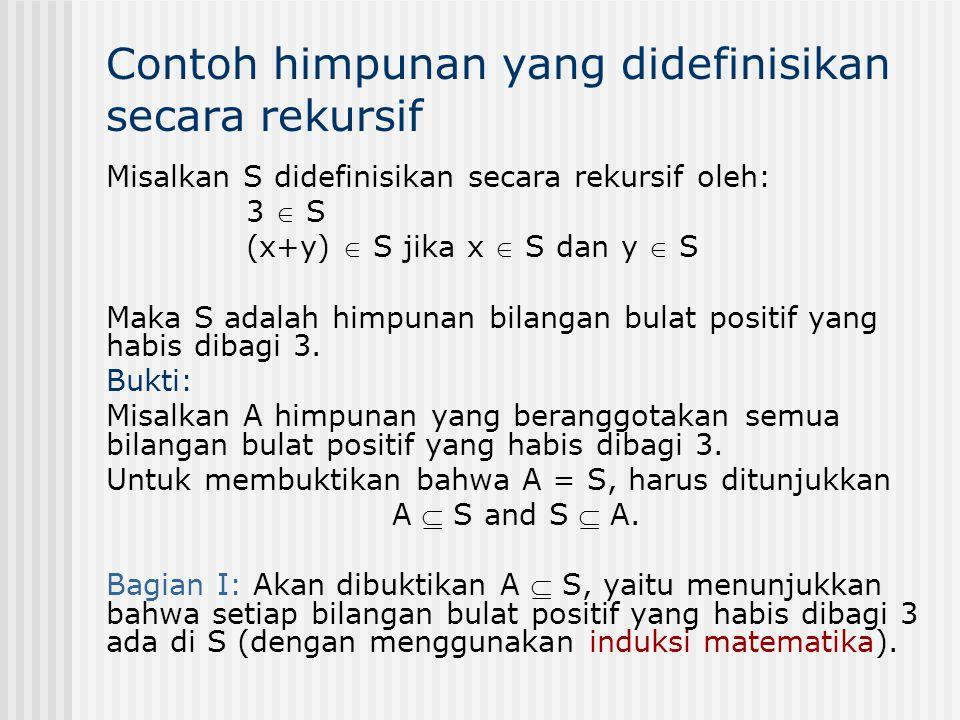 Contoh himpunan yang didefinisikan secara rekursif Misalkan S didefinisikan secara rekursif oleh: 3  S (x+y)  S jika x  S dan y  S Maka S adalah h
