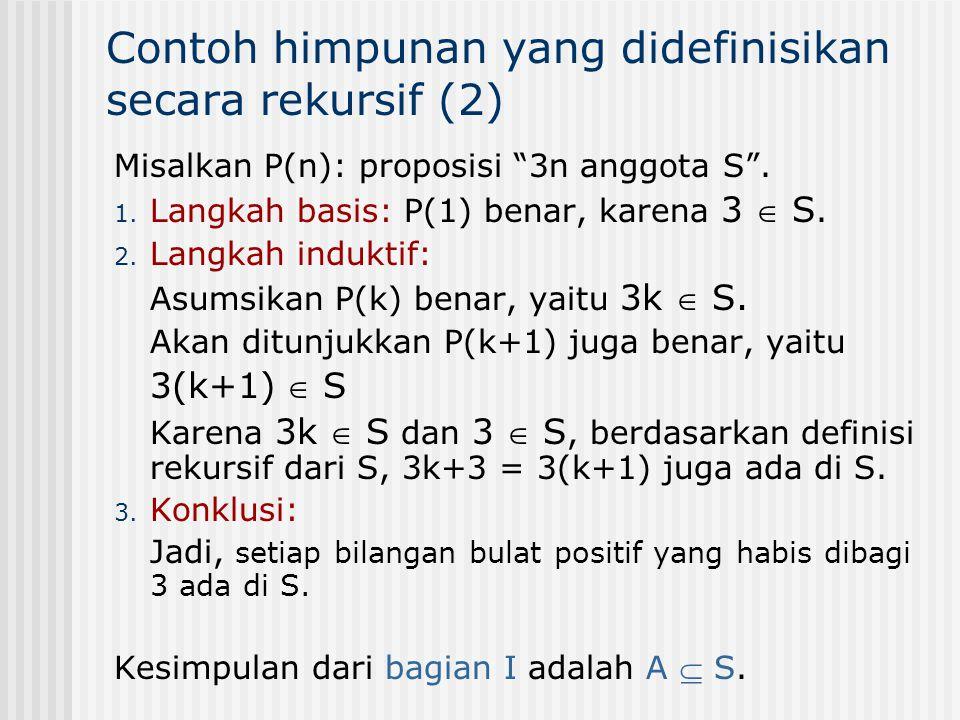 """Misalkan P(n): proposisi """"3n anggota S"""". 1. Langkah basis: P(1) benar, karena 3  S. 2. Langkah induktif: Asumsikan P(k) benar, yaitu 3k  S. Akan dit"""