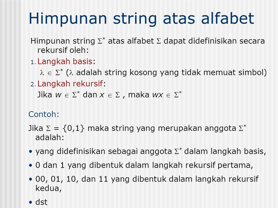 Himpunan string atas alfabet Himpunan string  * atas alfabet  dapat didefinisikan secara rekursif oleh: 1. Langkah basis:   * ( adalah string koso