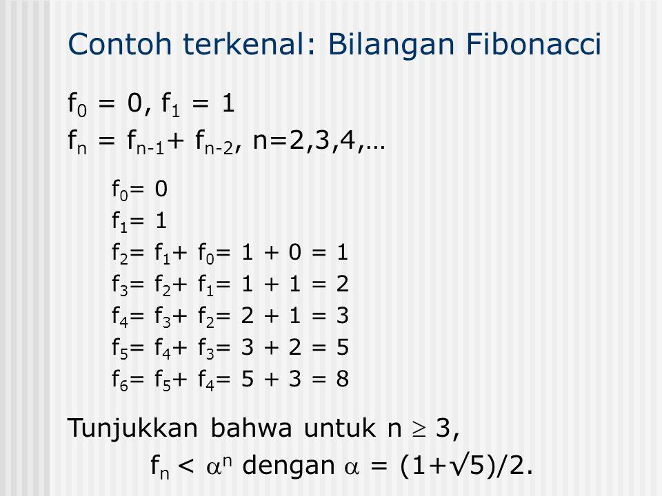 Contoh terkenal: Bilangan Fibonacci f 0 = 0, f 1 = 1 f n = f n-1 + f n-2, n=2,3,4,… f 0 = 0 f 1 = 1 f 2 = f 1 + f 0 = 1 + 0 = 1 f 3 = f 2 + f 1 = 1 +