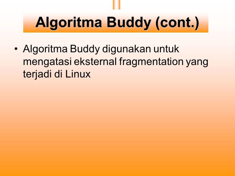 Algoritma Buddy (cont.) Algoritma Buddy digunakan untuk mengatasi eksternal fragmentation yang terjadi di Linux