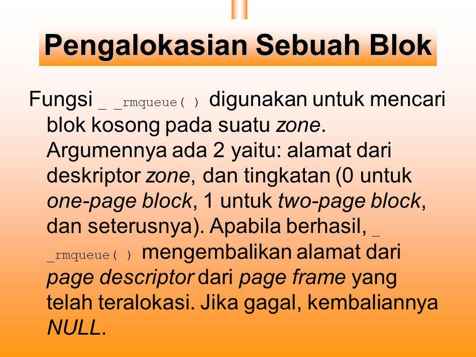 Pengalokasian Sebuah Blok Fungsi _ _rmqueue( ) digunakan untuk mencari blok kosong pada suatu zone.