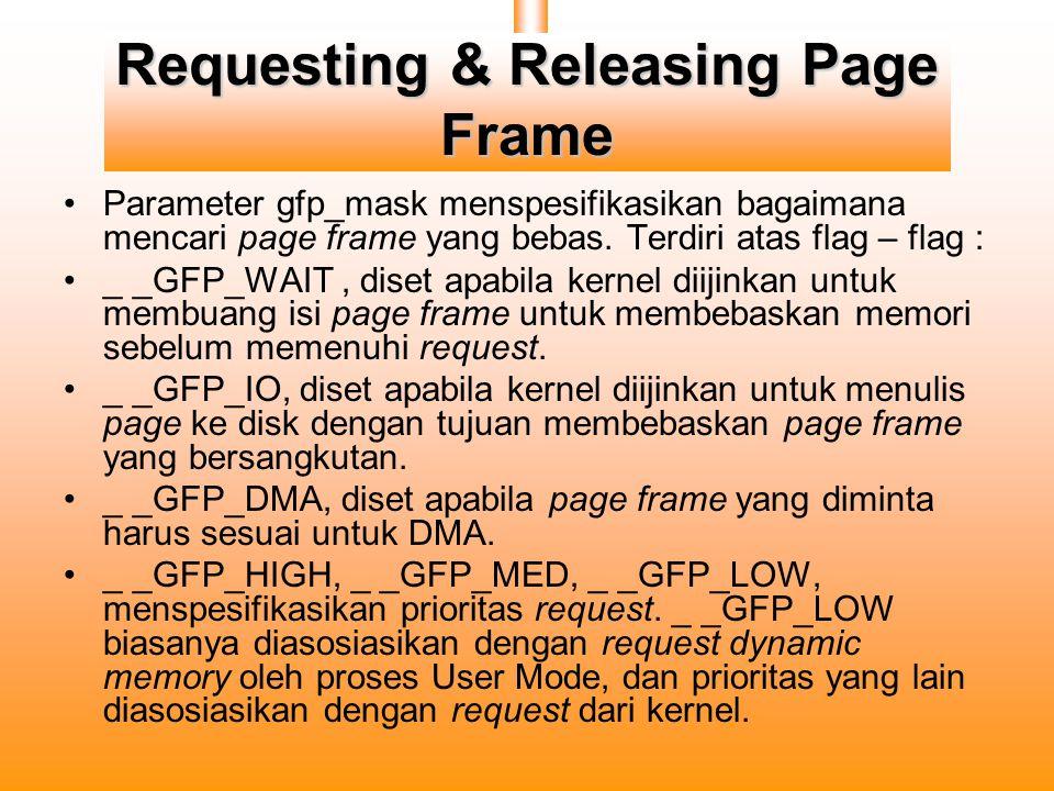 Requesting & Releasing Page Frame Parameter gfp_mask menspesifikasikan bagaimana mencari page frame yang bebas.