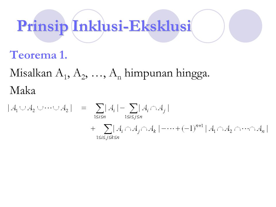 Prinsip Inklusi-Eksklusi Teorema 1. Misalkan A 1, A 2, …, A n himpunan hingga. Maka