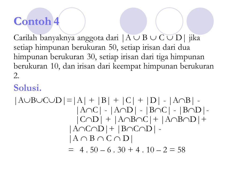 Contoh 4 Carilah banyaknya anggota dari |A  B  C  D| jika setiap himpunan berukuran 50, setiap irisan dari dua himpunan berukuran 30, setiap irisan