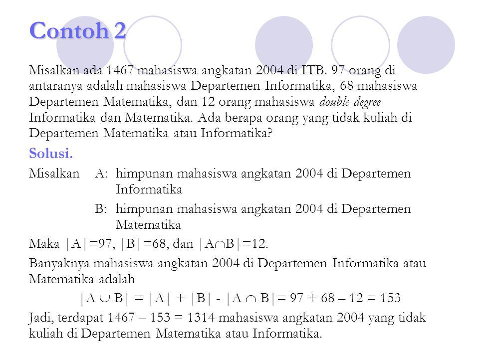 Contoh 2 Misalkan ada 1467 mahasiswa angkatan 2004 di ITB. 97 orang di antaranya adalah mahasiswa Departemen Informatika, 68 mahasiswa Departemen Mate