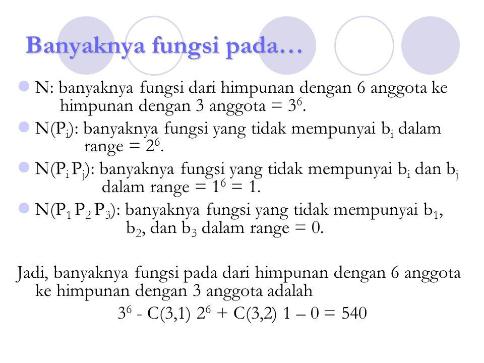 Banyaknya fungsi pada… N: banyaknya fungsi dari himpunan dengan 6 anggota ke himpunan dengan 3 anggota = 3 6. N(P i ): banyaknya fungsi yang tidak mem