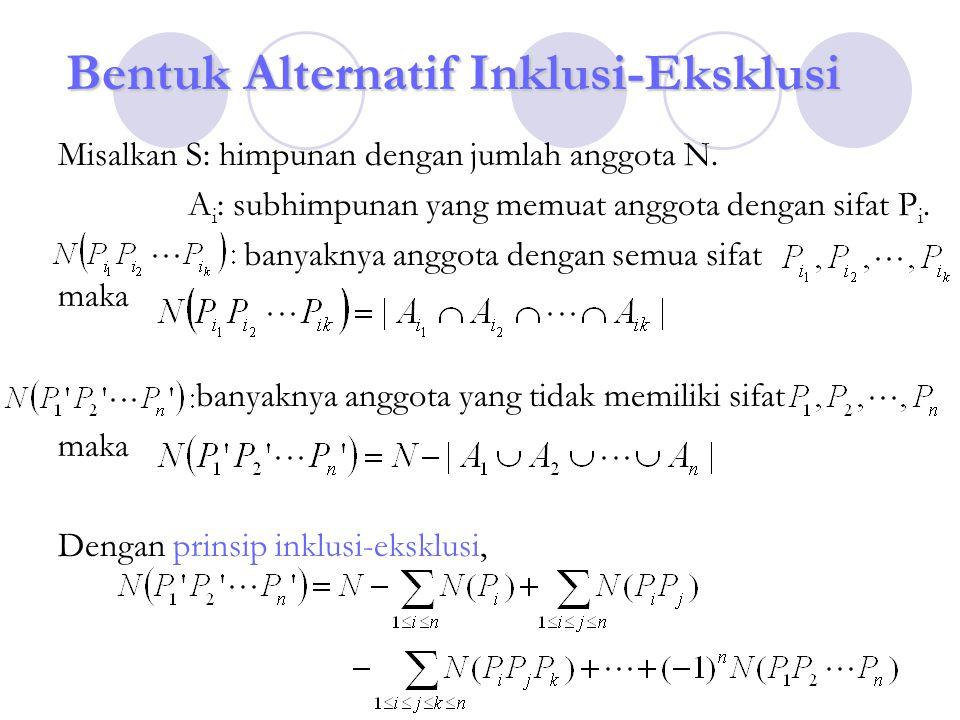 Bentuk Alternatif Inklusi-Eksklusi Misalkan S: himpunan dengan jumlah anggota N. A i : subhimpunan yang memuat anggota dengan sifat P i. banyaknya ang