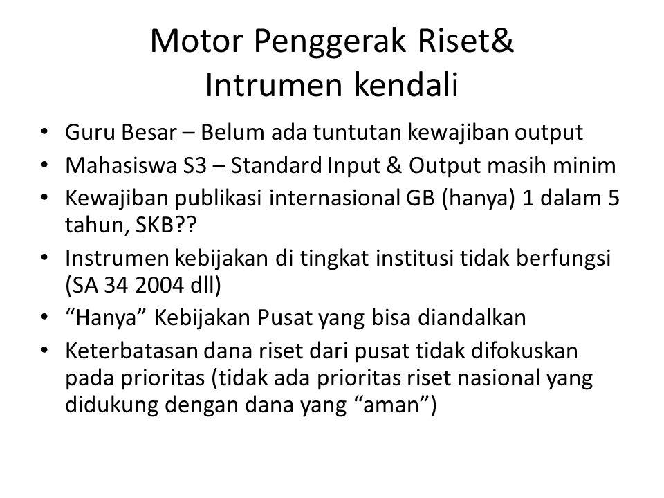 Motor Penggerak Riset& Intrumen kendali Guru Besar – Belum ada tuntutan kewajiban output Mahasiswa S3 – Standard Input & Output masih minim Kewajiban