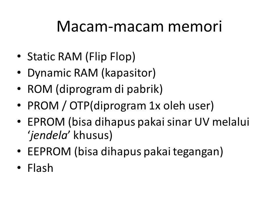 Macam-macam memori Static RAM (Flip Flop) Dynamic RAM (kapasitor) ROM (diprogram di pabrik) PROM / OTP(diprogram 1x oleh user) EPROM (bisa dihapus pakai sinar UV melalui 'jendela' khusus) EEPROM (bisa dihapus pakai tegangan) Flash