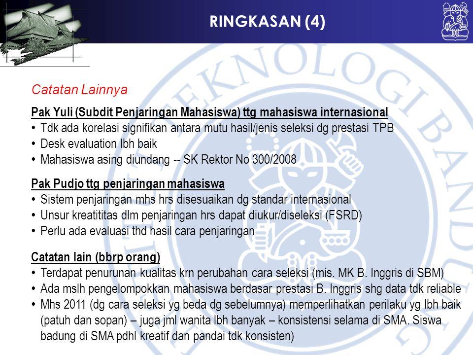RINGKASAN (4) Catatan Lainnya Pak Yuli (Subdit Penjaringan Mahasiswa) ttg mahasiswa internasional Tdk ada korelasi signifikan antara mutu hasil/jenis