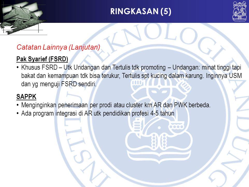RINGKASAN (5) Catatan Lainnya (Lanjutan) Pak Syarief (FSRD) Khusus FSRD – Utk Undangan dan Tertulis tdk promoting – Undangan: minat tinggi tapi bakat