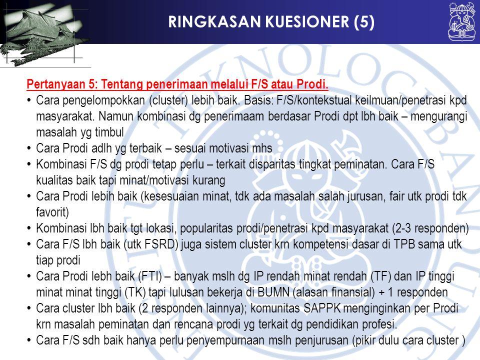 RINGKASAN KUESIONER (5) Pertanyaan 5: Tentang penerimaan melalui F/S atau Prodi. Cara pengelompokkan (cluster) lebih baik. Basis: F/S/kontekstual keil