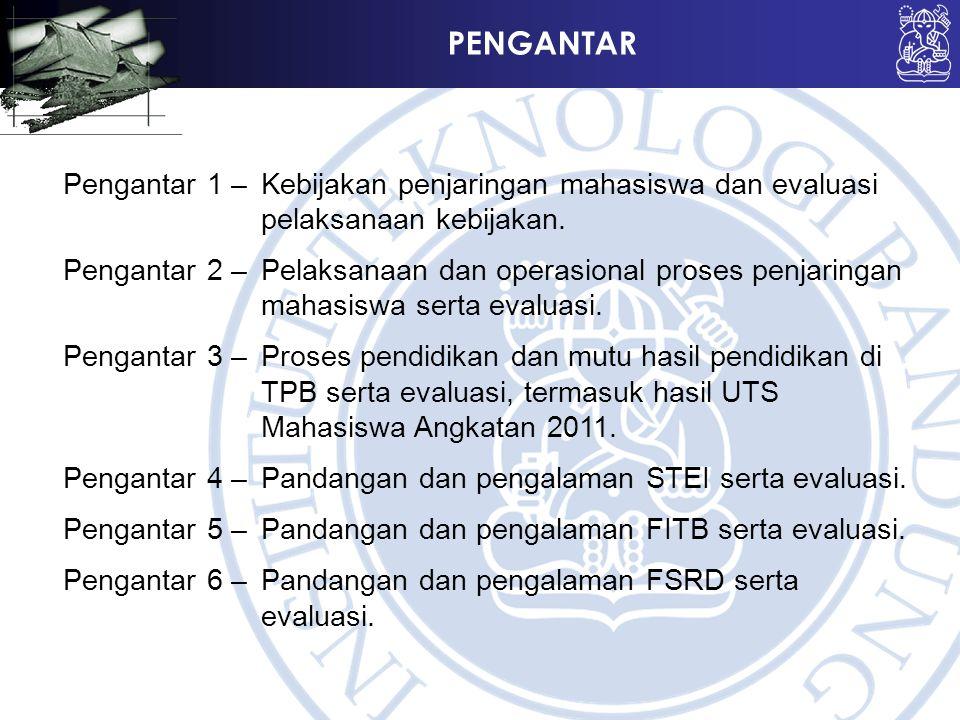 PENGANTAR Pengantar 1 –Kebijakan penjaringan mahasiswa dan evaluasi pelaksanaan kebijakan. Pengantar 2 –Pelaksanaan dan operasional proses penjaringan