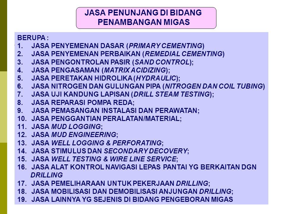 12 Dit.P2Humas12 JASA PENUNJANG DI BIDANG PENAMBANGAN MIGAS BERUPA : 1.JASA PENYEMENAN DASAR (PRIMARY CEMENTING) 2.JASA PENYEMENAN PERBAIKAN (REMEDIAL CEMENTING) 3.JASA PENGONTROLAN PASIR (SAND CONTROL); 4.JASA PENGASAMAN (MATRIX ACIDIZING); 5.JASA PERETAKAN HIDROLIKA (HYDRAULIC); 6.JASA NITROGEN DAN GULUNGAN PIPA (NITROGEN DAN COIL TUBING) 7.JASA UJI KANDUNG LAPISAN (DRILL STEAM TESTING); 8.JASA REPARASI POMPA REDA; 9.JASA PEMASANGAN INSTALASI DAN PERAWATAN; 10.JASA PENGGANTIAN PERALATAN/MATERIAL; 11.JASA MUD LOGGING; 12.JASA MUD ENGINEERING; 13.JASA WELL LOGGING & PERFORATING; 14.JASA STIMULUS DAN SECONDARY DECOVERY; 15.JASA WELL TESTING & WIRE LINE SERVICE; 16.JASA ALAT KONTROL NAVIGASI LEPAS PANTAI YG BERKAITAN DGN DRILLING 17.JASA PEMELIHARAAN UNTUK PEKERJAAN DRILLING; 18.JASA MOBILISASI DAN DEMOBILISASI ANJUNGAN DRILLING; 19.JASA LAINNYA YG SEJENIS DI BIDANG PENGEBORAN MIGAS