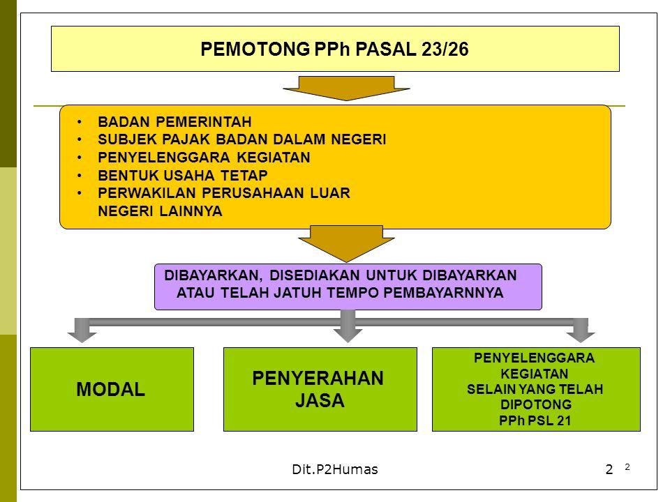 3 Dit.P2Humas3 PENERIMA PENGHASILAN YANG DIPOTONG PPh PASAL 23/26 PPh PASAL 23PPh PASAL 26 WAJIB PAJAK DALAM NEGERI BUT WAJIB PAJAK LUAR NEGERI