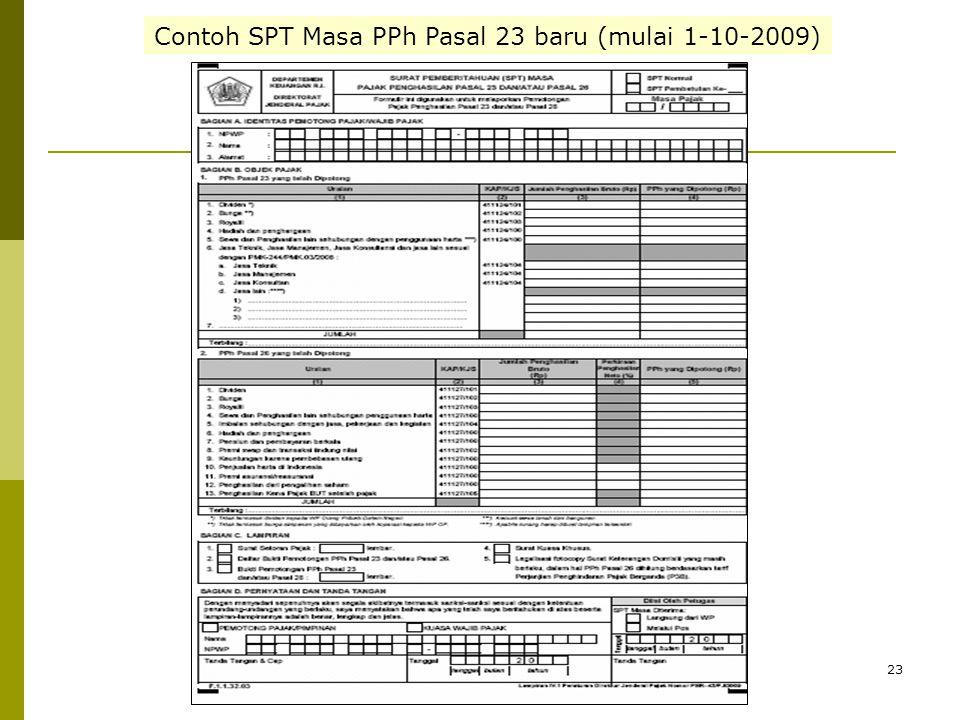 23 Contoh SPT Masa PPh Pasal 23 baru (mulai 1-10-2009)