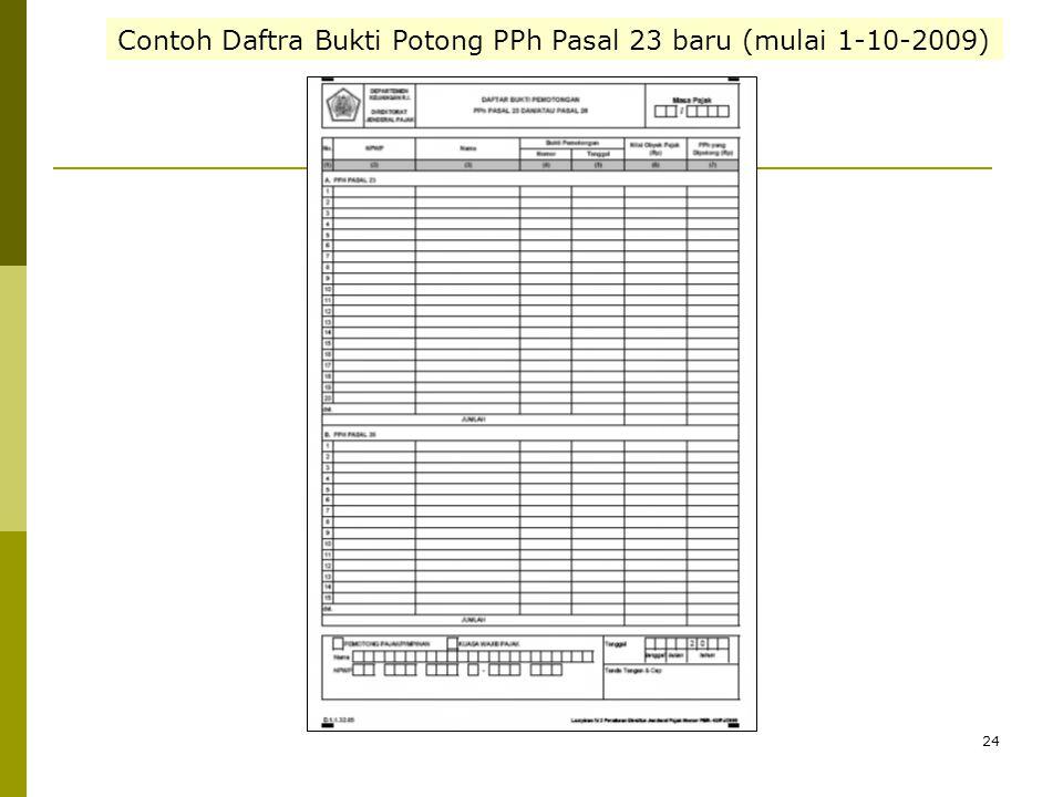 24 Contoh Daftra Bukti Potong PPh Pasal 23 baru (mulai 1-10-2009)