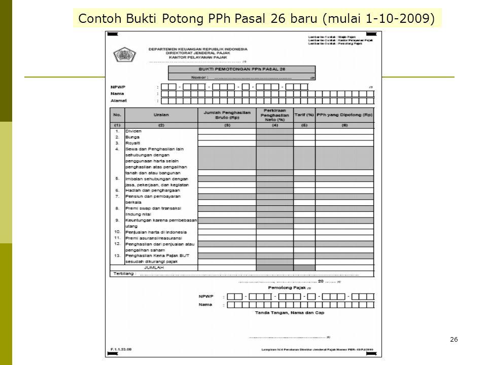 26 Contoh Bukti Potong PPh Pasal 26 baru (mulai 1-10-2009)
