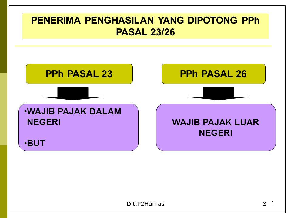 4 Dit.P2Humas4 PENGHASILAN YANG DIKENAKAN PEMOTONGAN PPh PASAL 23 DEVIDEN TERMASUK DEVIDEN DARI PERUSAHAAN ASURANSI KPD PEMEGANG POLIS DAN PEMBAGIAN SHU KOPERASI BUNGA TERMASUK PREMIUM,DISKONTO DAN IMBALAN SEHUBUNGAN DENGAN JAMINAN PENGEMBALIAN UTANG ROYALTI HADIAH, PENGHARGAAN DAN BONUS DAN SEJENISNYA SELAIN YG TELAH DIPOTONG PPh PSL 21 SEWA DAN PENGHASILAN LAIN SEHUBUNGAN DGN PENGGUNAAN HARTA SELAIN SEWA ATAS TANAH DAN/ATAU BANGUNAN SESUAI DENGAN PP 5 TAHUN 2002 IMBALAN SEHUBUNGAN DENGAN: JASA TEKNIK; JASA MANAJEMEN; JASA KONSTRUKSI; JASA KONSULTAN; JASA LAIN SELAIN JASA YG TLH DIPOTONG PPh PSL 21
