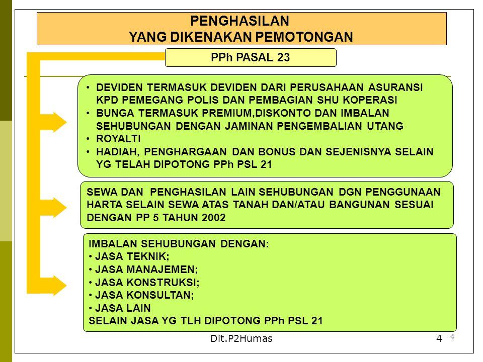 4 Dit.P2Humas4 PENGHASILAN YANG DIKENAKAN PEMOTONGAN PPh PASAL 23 DEVIDEN TERMASUK DEVIDEN DARI PERUSAHAAN ASURANSI KPD PEMEGANG POLIS DAN PEMBAGIAN S