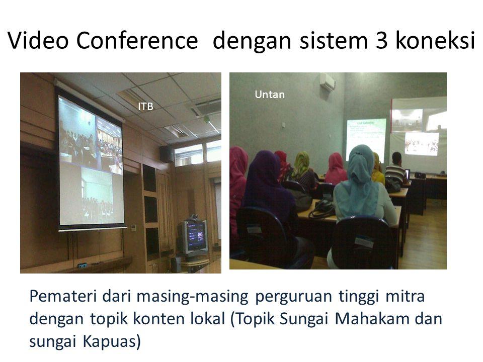 Video Conference dengan sistem 3 koneksi Pemateri dari masing-masing perguruan tinggi mitra dengan topik konten lokal (Topik Sungai Mahakam dan sungai