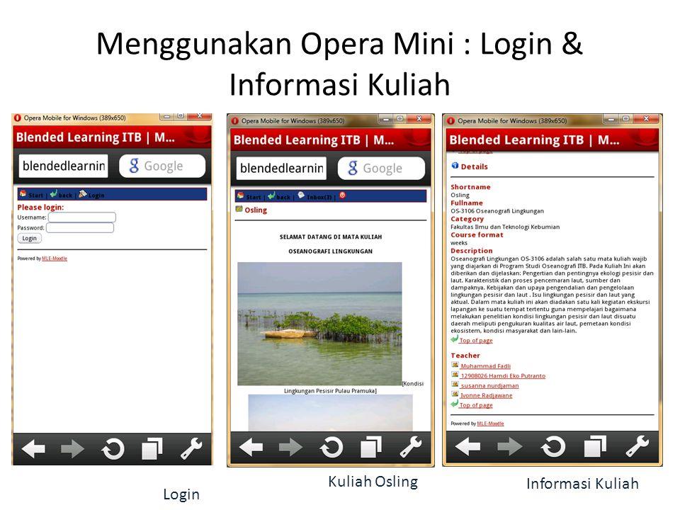 Menggunakan Opera Mini : Login & Informasi Kuliah Login Kuliah Osling Informasi Kuliah