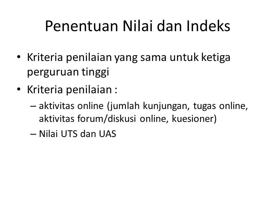 Penentuan Nilai dan Indeks Kriteria penilaian yang sama untuk ketiga perguruan tinggi Kriteria penilaian : – aktivitas online (jumlah kunjungan, tugas