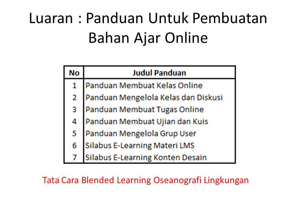 Luaran : Panduan Untuk Pembuatan Bahan Ajar Online Tata Cara Blended Learning Oseanografi Lingkungan
