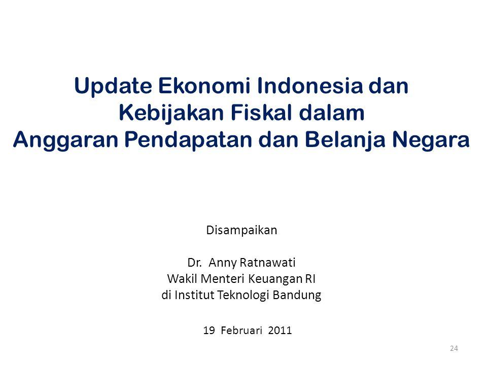 24 Update Ekonomi Indonesia dan Kebijakan Fiskal dalam Anggaran Pendapatan dan Belanja Negara Disampaikan Dr. Anny Ratnawati Wakil Menteri Keuangan RI