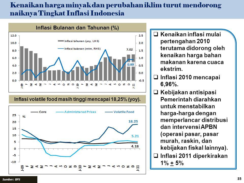 Kenaikan harga minyak dan perubahan iklim turut mendorong naiknya Tingkat Inflasi Indonesia Sumber: BPS Inflasi Bulanan dan Tahunan (%) Inflasi volati