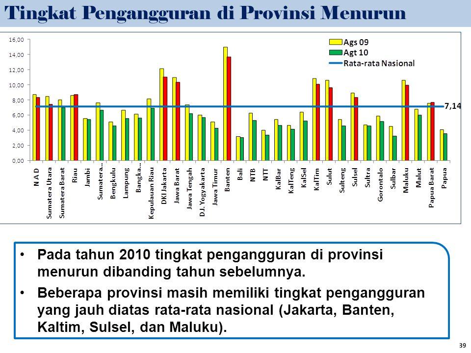 Pada tahun 2010 tingkat pengangguran di provinsi menurun dibanding tahun sebelumnya. Beberapa provinsi masih memiliki tingkat pengangguran yang jauh d