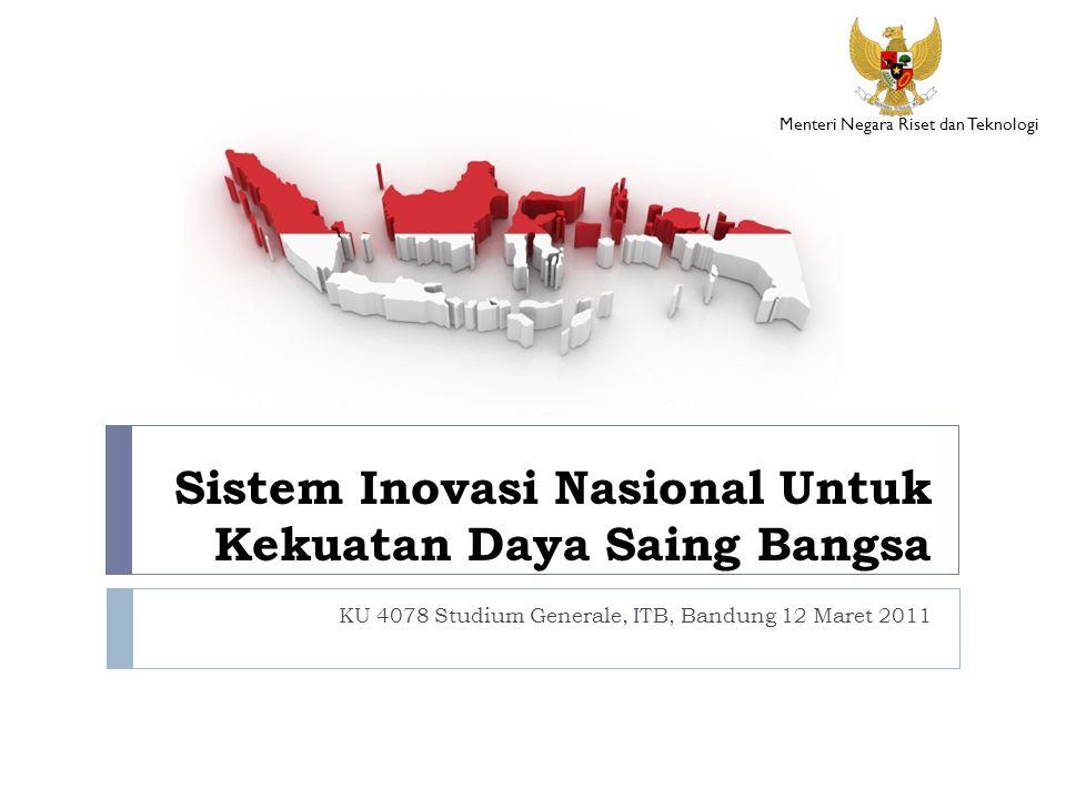 Sistem Inovasi Nasional Untuk Kekuatan Daya Saing Bangsa KU 4078 Studium Generale, ITB, Bandung 12 Maret 2011 Menteri Negara Riset dan Teknologi
