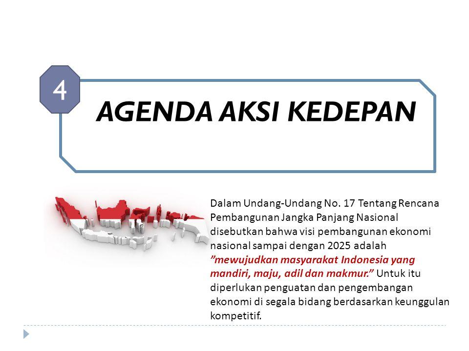 AGENDA AKSI KEDEPAN 4 Dalam Undang-Undang No. 17 Tentang Rencana Pembangunan Jangka Panjang Nasional disebutkan bahwa visi pembangunan ekonomi nasiona