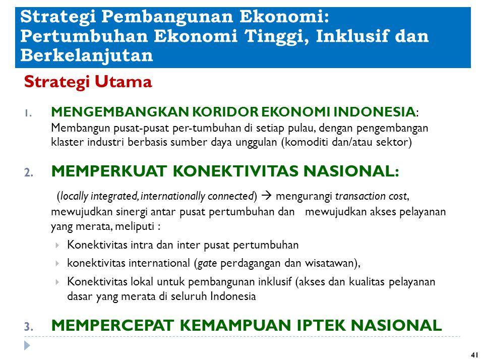 Strategi Pembangunan Ekonomi: Pertumbuhan Ekonomi Tinggi, Inklusif dan Berkelanjutan Strategi Utama 1. MENGEMBANGKAN KORIDOR EKONOMI INDONESIA: Memban