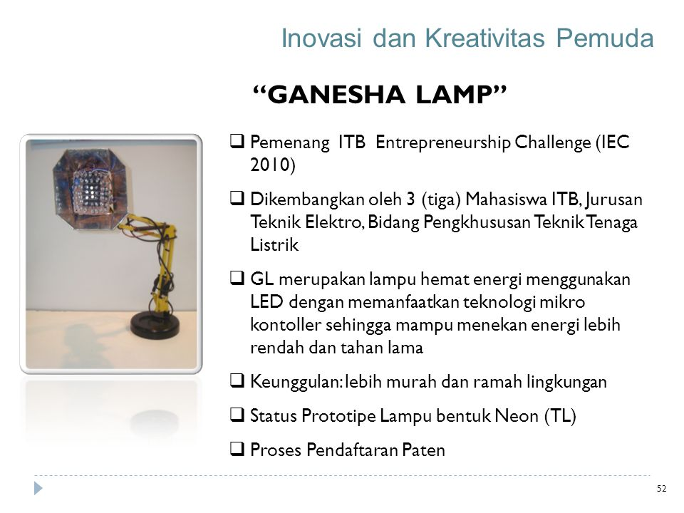 """GANESHA LAMP""  Pemenang ITB Entrepreneurship Challenge (IEC 2010)  Dikembangkan oleh 3 (tiga) Mahasiswa ITB, Jurusan Teknik Elektro, Bidang Pengkhu"