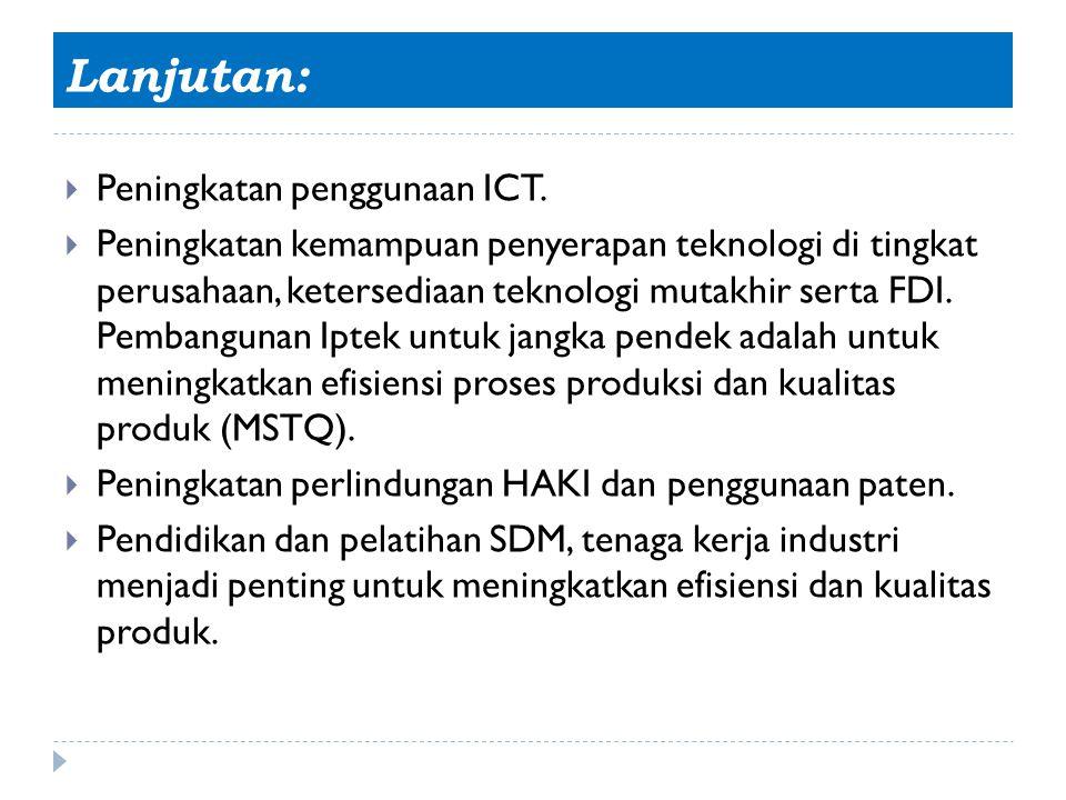 Lanjutan:  Peningkatan penggunaan ICT.  Peningkatan kemampuan penyerapan teknologi di tingkat perusahaan, ketersediaan teknologi mutakhir serta FDI.