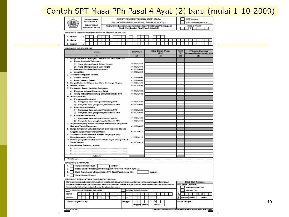 10 Contoh SPT Masa PPh Pasal 4 Ayat (2) baru (mulai 1-10-2009)